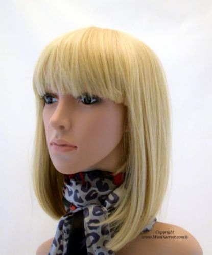 Light Golden Blond Wig in a Longer Length Bob Style